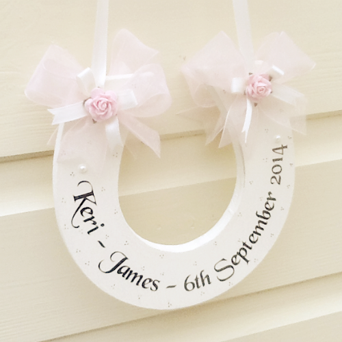 Personalised Wedding Horseshoe In Baby Pink Organza